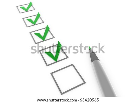 3d green check boxes with pen isolated on white background - stock photo