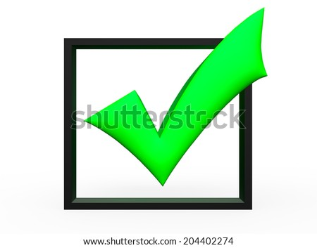 3D green check mark in box isolated white background - stock photo