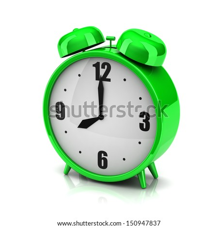3d green clock alarm on a white background