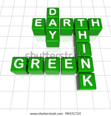 3d green cubes with letters, crossword - Earth Day think green - stock photo