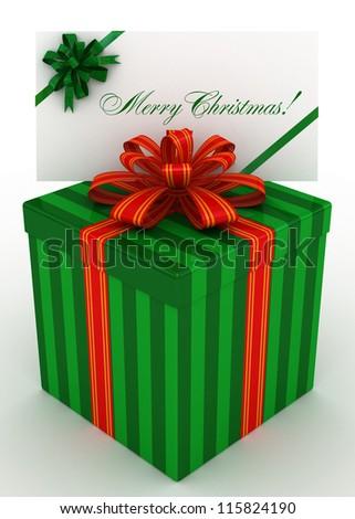 3D green Gift christmas box with christmas postal, envelope - stock photo