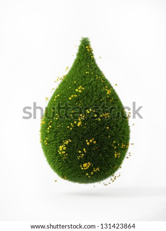 3d green grass drop wit yellow flowers isolaten on white background - stock photo