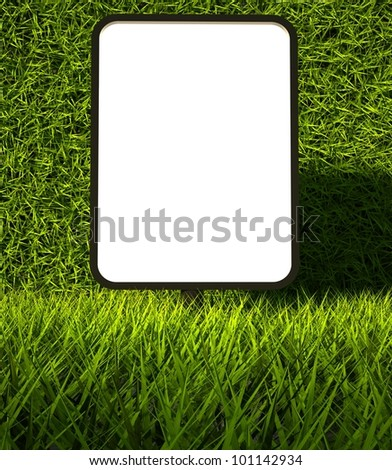 3d green grass texture and blank advertising billboard - stock photo