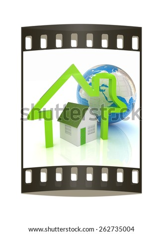 3d green house, earth and icon house on white background. The film strip - stock photo