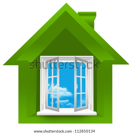 3D Green House For Real Estate Business Isolated On a White Background - stock photo