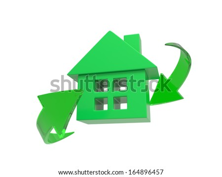 3d green house isolated on white background