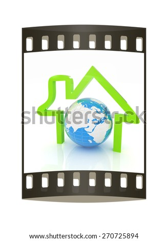 3d green icon house, earth on white background. The film strip - stock photo