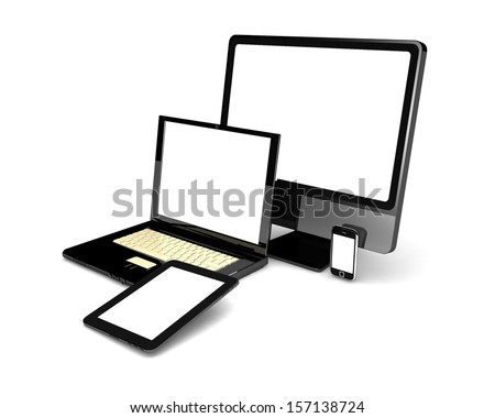 3d green laptop, tablet computer, monitor and mobile phone template. isolated on white background - stock photo