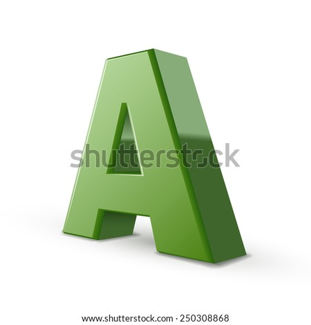 3d green letter A isolated on white background