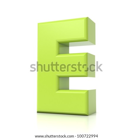 3D green letter collection - E