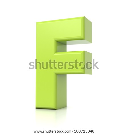 3D green letter collection - F