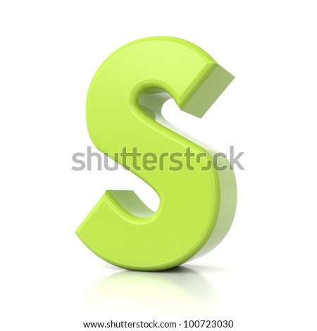 3D green letter collection - S - stock photo