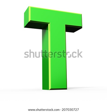 3d green letter collection - T