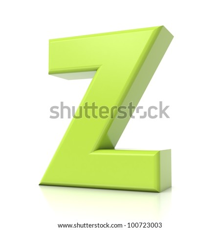 3D green letter collection - Z