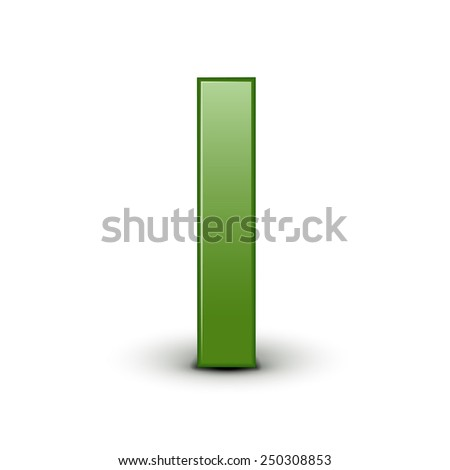 3d green letter I isolated on white background