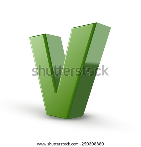 3d green letter V isolated on white background