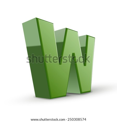 3d green letter W isolated on white background - stock photo