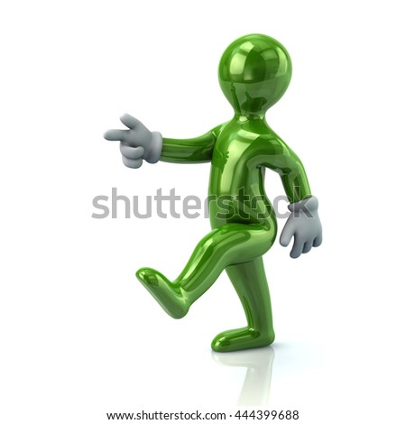 3d green man moving forward for success isolated on white background