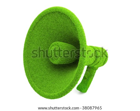 3d Green Megaphone, ecology concept isolated on white background - stock photo