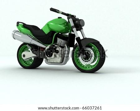 3d green motorbike - stock photo