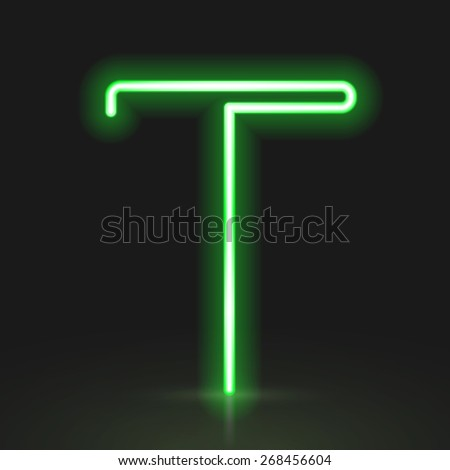 3d green neon light letter T isolated on black background - stock photo