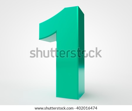 3d green number 1 collection on white background illustration 3D rendering
