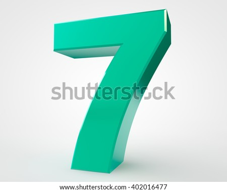 3d green number 7 collection on white background illustration 3D rendering
