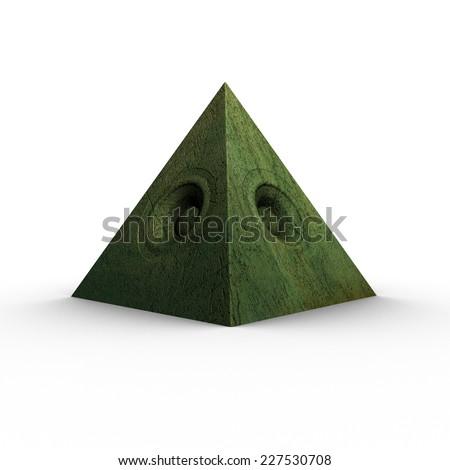 3d green pyramid grunge old speaker sound system  - stock photo
