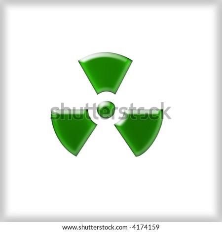 3d Green Radioactive sign - stock photo