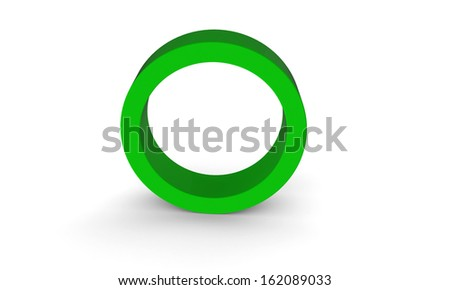 3d green ring hollow cylinder  isolated on white