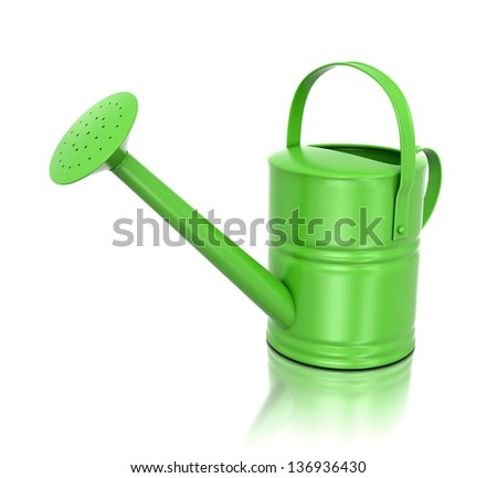 3d green watering can isolated on white background - stock photo