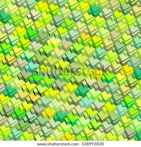 3d green yellow abstract pattern surface backdrop - stock photo