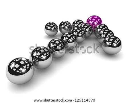 3d Grey arrow of the balls with the  purple leader in front. On white background. Business and Sports concept - stock photo