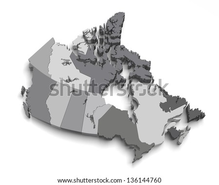 3d grey canada map on white with territory and regions isolated