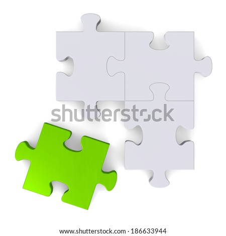 3d grey puzzle with green missing piece isolated on white, top view