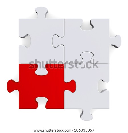 3d grey puzzle with one red piece isolated on white