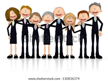 3D group of business people - isolated over a white background - stock photo