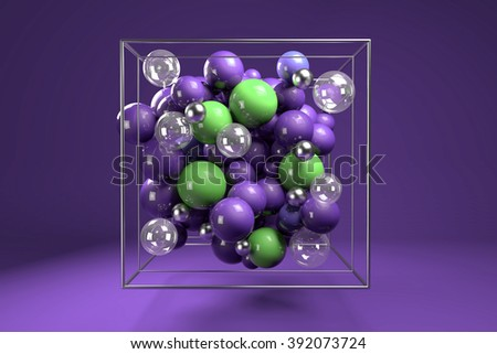 3d group of colorful glossy spheres in chrome wire cube. Bright purple and green plastic balls with transparent bubbles and metal spheres. Centered composition on purple background. 