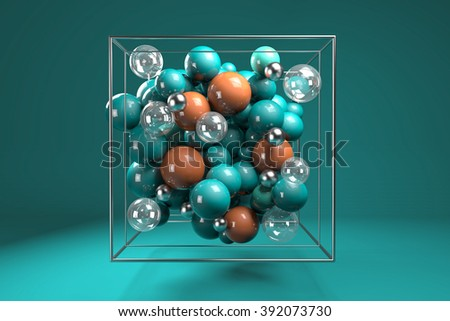 3d group of colorful glossy spheres in chrome wire cube. Bright turquoise and orange plastic balls with transparent bubbles and metal spheres. Centered composition on turquoise background.  - stock photo
