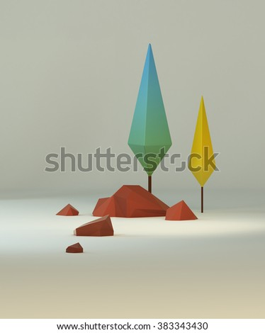 3d group of low poly stylized trees and rocks. Objects in the spot of soft light.Colorful cartoon geometric elements with realistic shadows on white background.  - stock photo