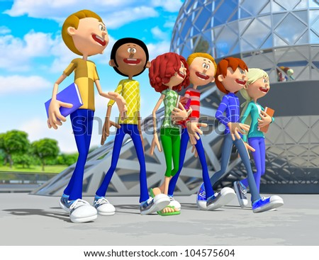 3D group of students going on a fiel trip - stock photo