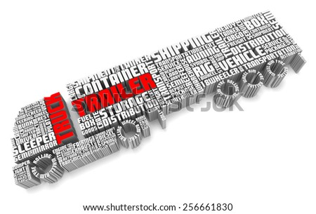 3d group of words shaping a truck with trailer and with red text aerial front view - stock photo