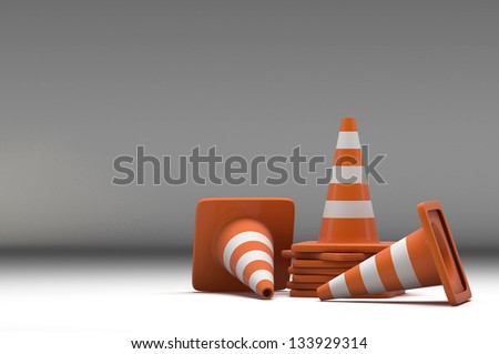 3d group traffic cone on white background - stock photo