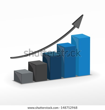 3D Growth bar graph. Business concept. Raster version. - stock photo