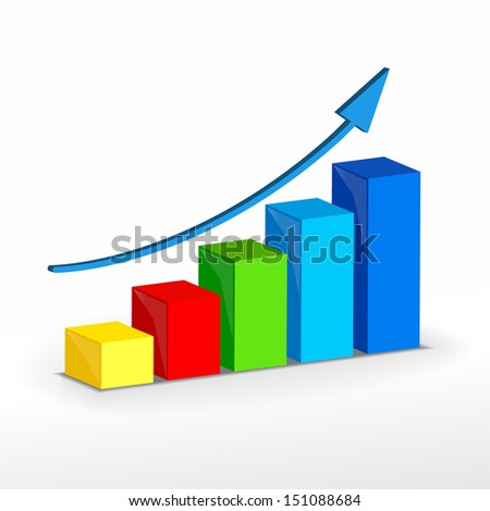 3D Growth bar graph. Business concept. Raster version illustration. - stock photo
