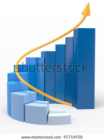 3D Growth bar graph - isolated over a white background - stock photo