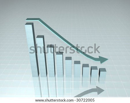 3d growth chart and decceding arrow with reflection