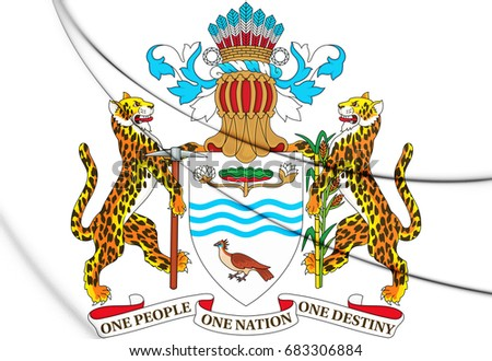 3D Guyana coat of arms. 3D Illustration.