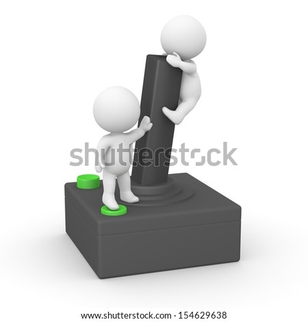 3D guys pressing joystick buttons