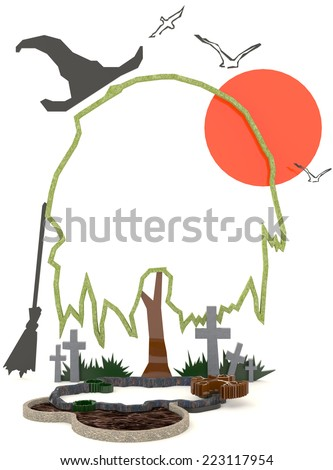 3D Halloween background decoration in haunting graveyard - stock photo